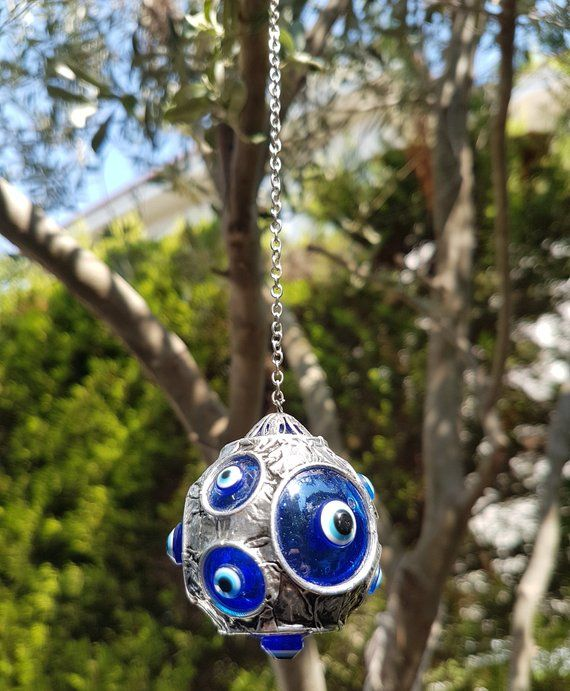 Hamsa Hand Fatima/'s Hand Wall hanging Amulet Turkish silver plated Evil Eye 21cm
