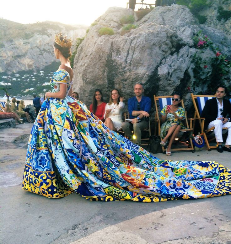 """Vogue Daily — From Dolce & Gabbana show in Capri. Loving the setting in Capri and the way D&G bring a whole other look to the term """"garden wedding"""" - SO beautiful... reposted agreed"""