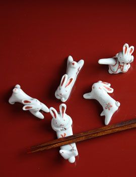 Rabbit chopstick rest by TADA Toshiko, Japan -- With modeling clay, perhaps.
