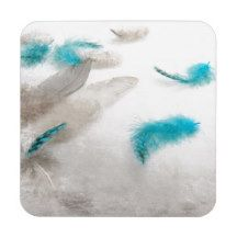 Turquoise Fluff Beverage Coasters