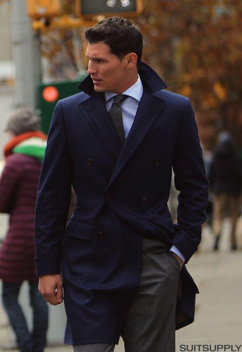 Navy trench, grey suit. SUIT up! Gentlemen Style, menswear, Men's Fashion