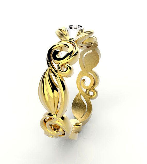 Anello per fidanzamento, motivo floreale, della purezza in oro 18 Kt bianco, giallo oppure rosa, con diamante 0,05 Ct - G col-VS