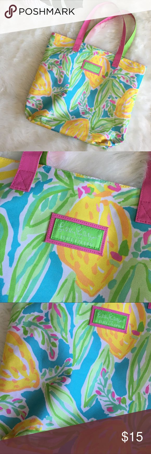 Lilly Pulitzer Estée Lauder Floral Lemon Tote Bag Lilly Pulitzer Estée Lauder Bright Floral Lemon Shoulder Tote Bag 16.5 X 14.5 New and never used condition. Lilly Pulitzer Bags Totes