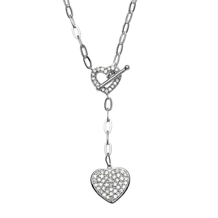La Preciosa Sterling Silver Cubic Zirconia Double Heart Necklace | Overstock.com Shopping - Top Rated La Preciosa Cubic Zirconia