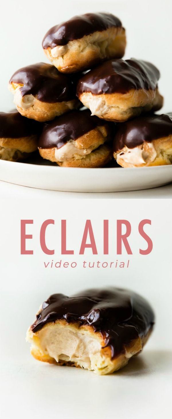 Delicious and easy eclairs with homemade choux pastry! Fill with peanut butter mousse and top with rich chocolate ganache for a decadent French pastry treat! Recipe on sallysbakingaddiction.com
