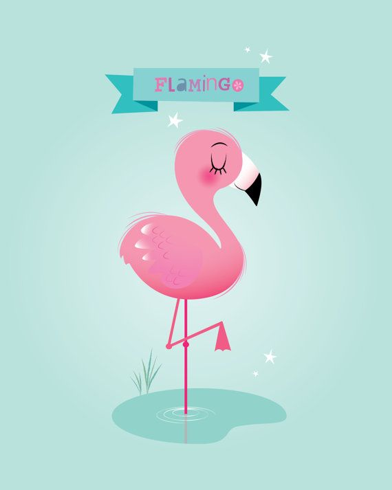 Chica vivero pared  Flamingo lámina arte para por IreneGoughPrints
