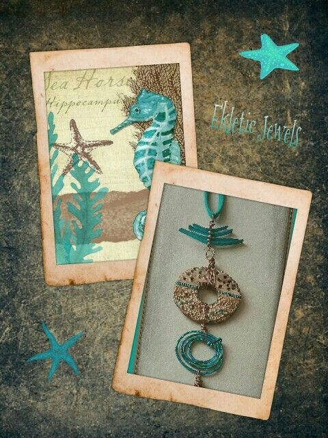 Handmade pendant necklace clay wire - aqua and sand - summer style - unique and original - made in Italy
