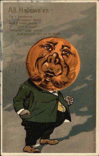 Halloween Greetings with Pumpkin Man Original Vintage Postcard @ niftywarehouse.com #NiftyWarehouse #Halloween #Scary #Fun #Ideas