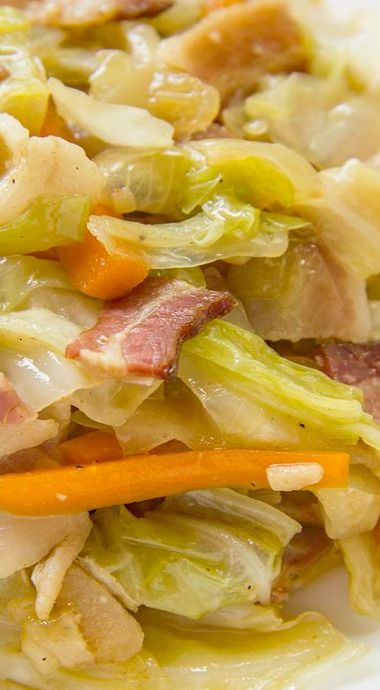 Fried Cabbage with Bacon, Onion & Garlic