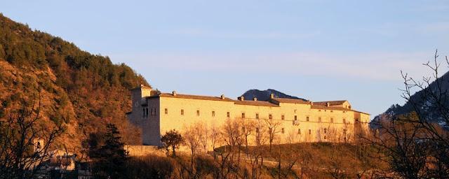 Sunset view of the Brancaleoni Castle in Piobbico (coming from Urbania), Le Marche, Italy