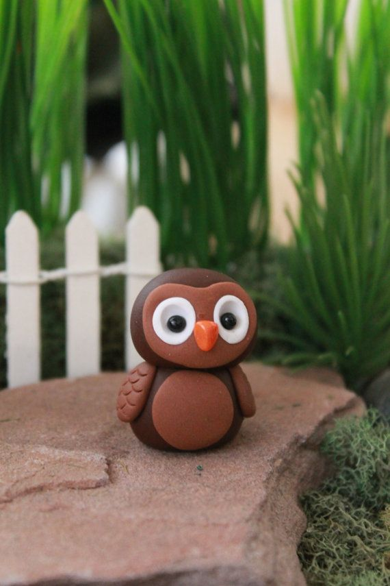 Polymer Clay Owl Miniature Owl Mini Clay Owl di GnomeWoods