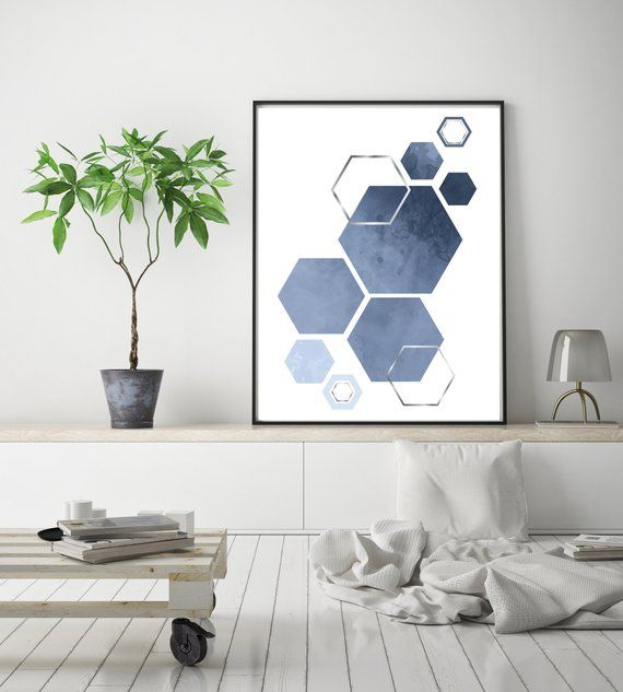 Geometric Watercolour Poster Denim Blue Silver Wall Art