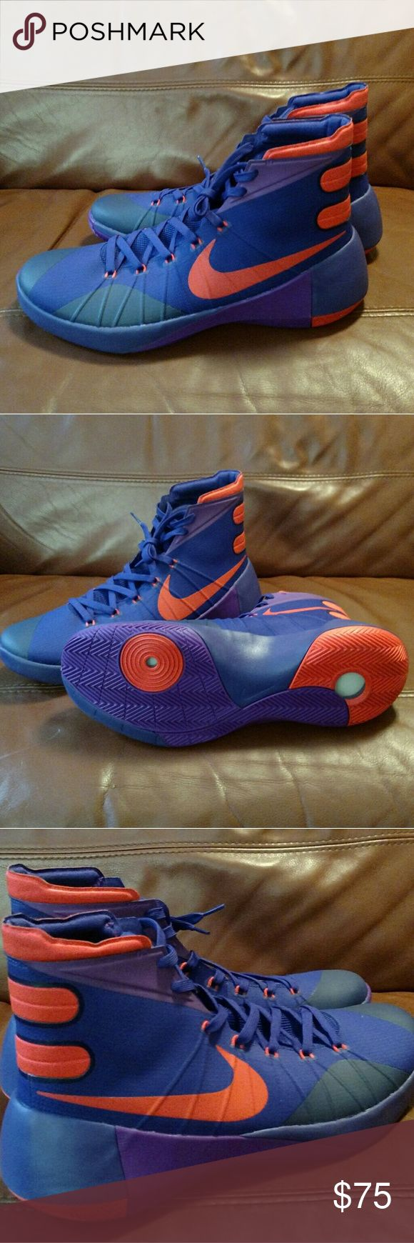 Nike Hyperdunk 2015 Size 14 Brand new UNWORN pair of Men's Nike Hyperdunk 2015 basketball sneakers with the rare Purple/Orange/Navy colorway in size 14 Nike Shoes Sneakers