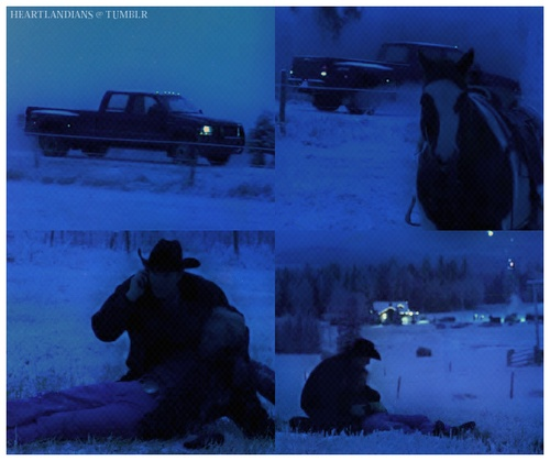 Tim: (he sees Jack on the field) Jack?! Jack?! (he runs for him and scares Paint) Easy, easy, easy! Jack? Jack! Jack… (Jack's phone rings. It's Amy calling. Tim hangs up and calls 911 instead) Yeah, uh… I need some help, I need an ambulance! Heartland ranch. West side field off of Road 99. Yes. (he hangs up and hold Jack)  Heartland - 6x18 - Under Pressure