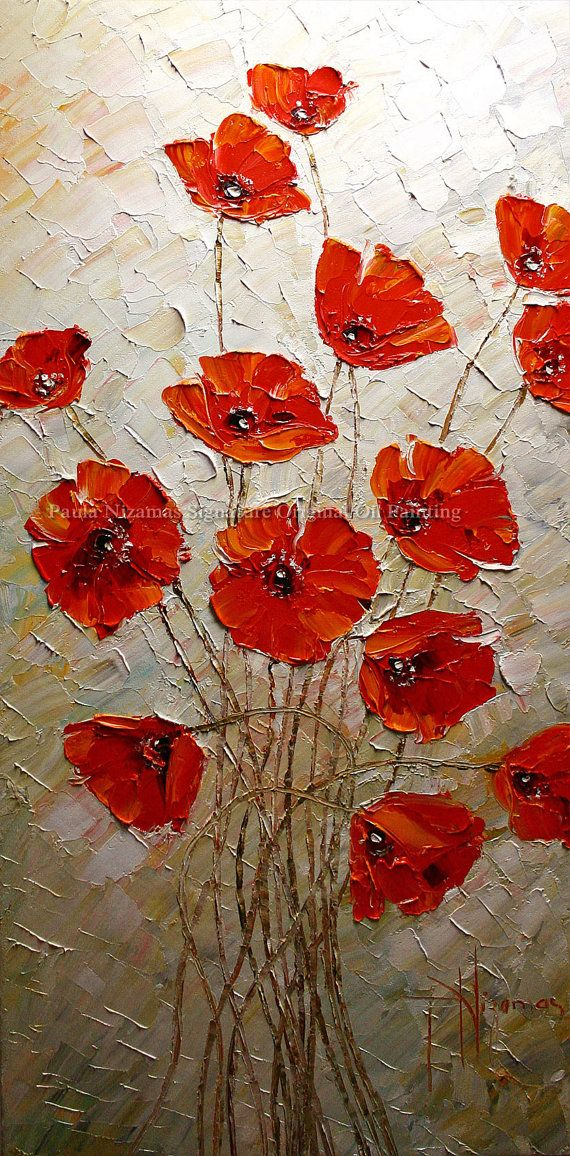 Original Resumen espátula textura gruesa pintura floral bellas