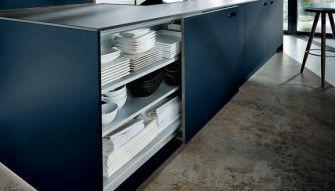 Next125 German Kitchen in indigo Blue Glass NX902 from Gideon Robinson