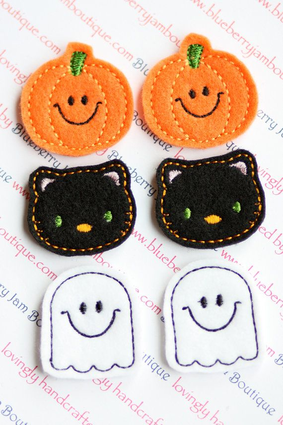 Felt Pumpkins Black Cats and Ghosts by blueberryjamboutique, $4.50