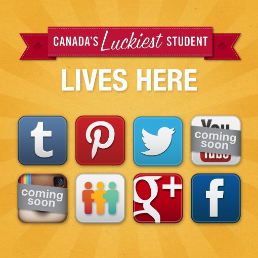 The Student Life Network is EVERYWHERE, and you never know where we'll post the secret code for the extra entry that wins you EVERYTHING!    Follow us on ...  Facebook: http://www.facebook.com/StudentLifeNetwork   Tumblr: http://luckieststudent.tumblr.com/  Twitter: http://twitter.com/StudentLifeNet   Pinterest: http://pinterest.com/studentlifenet/  Google+: https://plus.google.com/u/0/b/106304307197850568921/106304307197850568921/posts