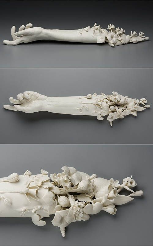 "The meticulous and macabre sculptures of Kate MacDowell. ""These pieces are in part responses to environmental stressors including climate change, toxic pollution, and gm crops. They also borrow from myth, art history, figures of speech and other cultural touchstones. In some pieces aspects of the human figure stand-in for ourselves and act out sometimes harrowing, sometimes humorous transformations which illustrate our current relationship with the natural world. ..."""