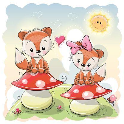 Two Cute Cartoon Foxes - ilustração de arte em vetor