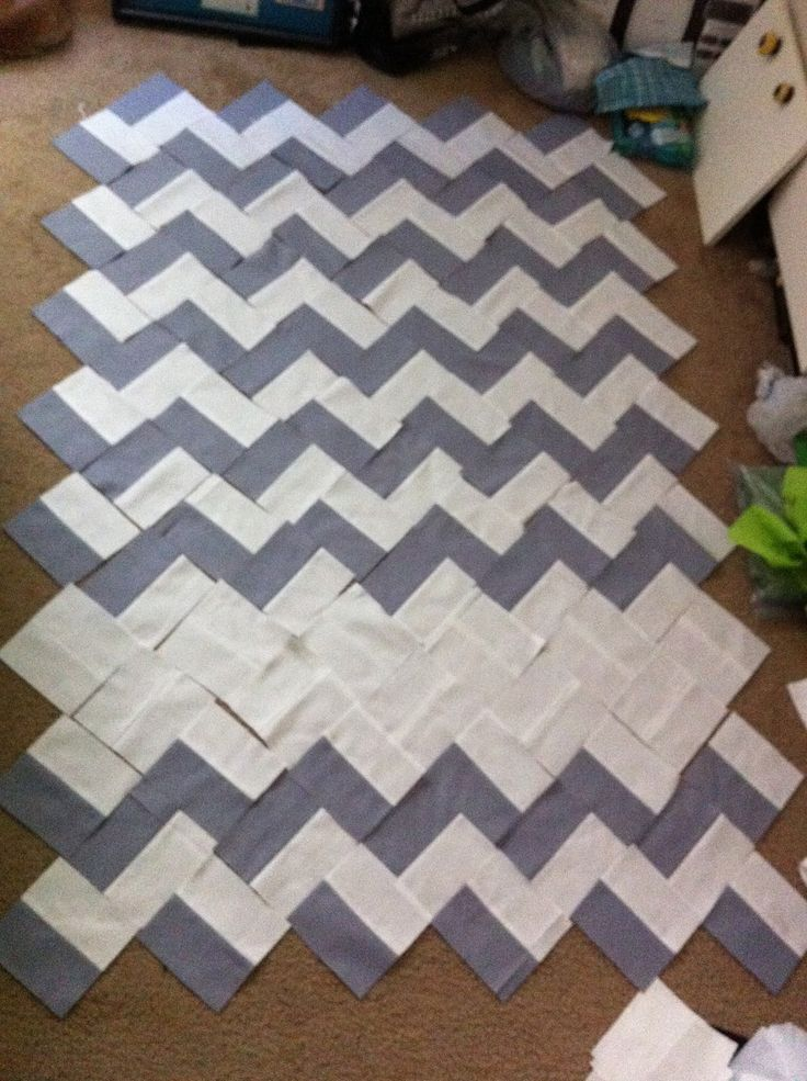 chevron quilt: super easy! Just a ton of rectangles made into squares...white part is where name can be appliqued