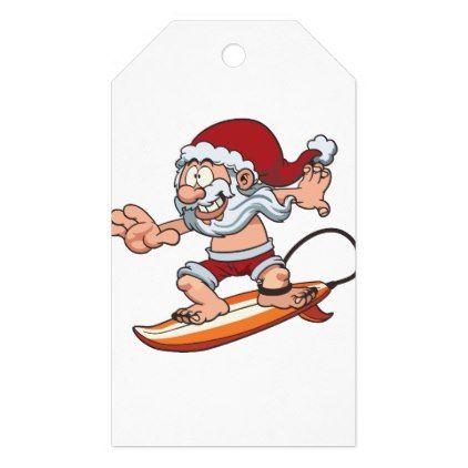 Santa Surfing Gift Tags - christmas craft supplies cyo merry xmas santa claus family holidays
