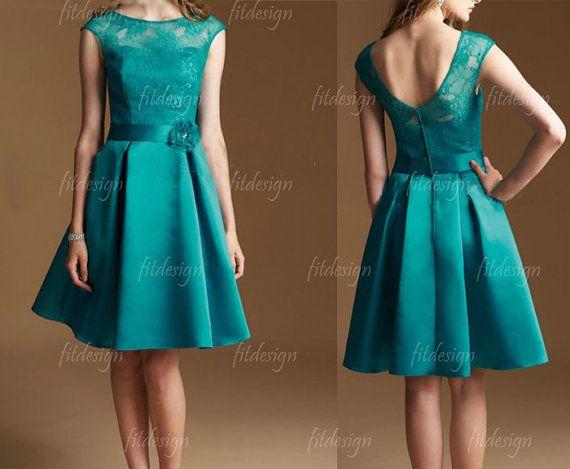 lace bridesmaid dress hunter green bridesmaid dress by fitdesign, $129.00