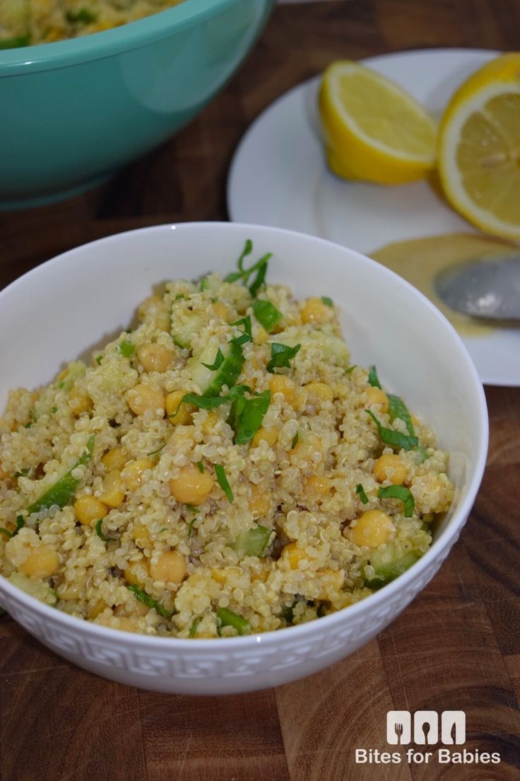 Quinoa Chickpea Salad with Lemon Tahini Vinaigrette || Bites For Foodies