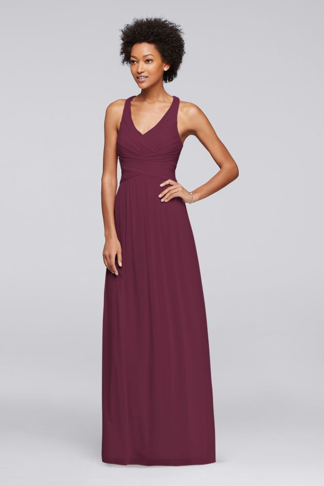 Mesh Long Bridesmaid Dress with Crisscross Back - Wine (Red), 8