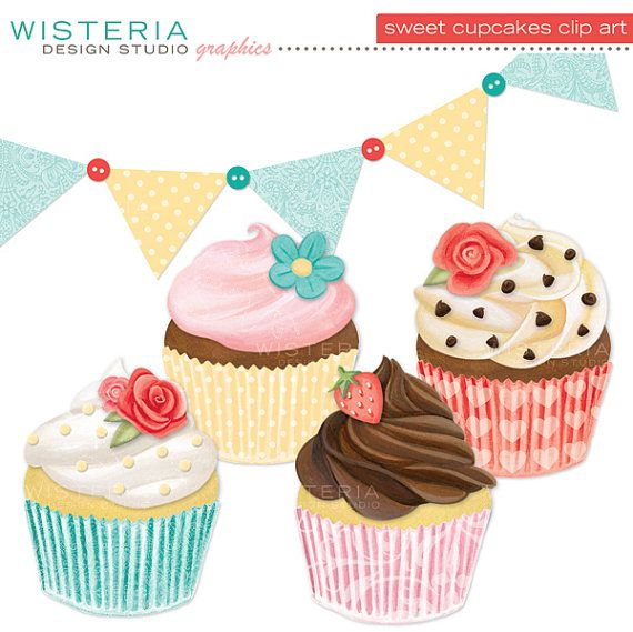 Sweet Cupcakes Clip Art  Hand Painted  by WisteriaDesignStudio, $6.00