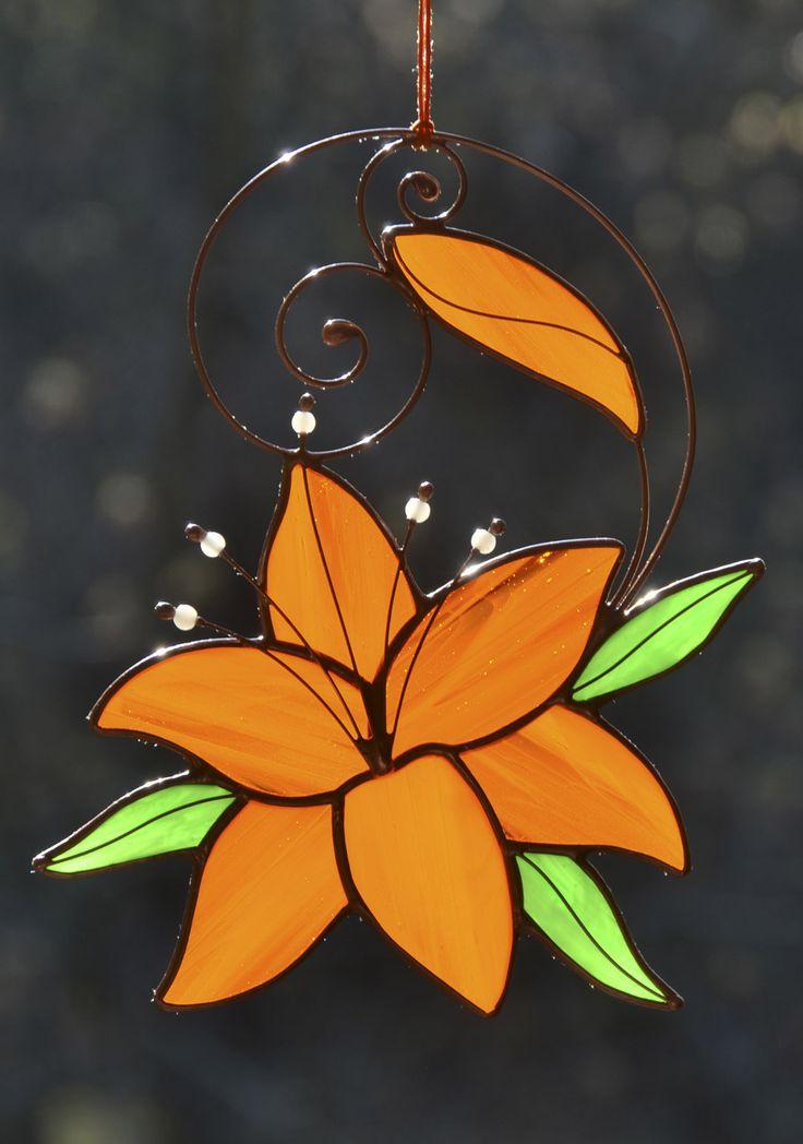 Stained glass flower suncatcher, lily decor, hanging window decoration, garden ornament, Tiffany art