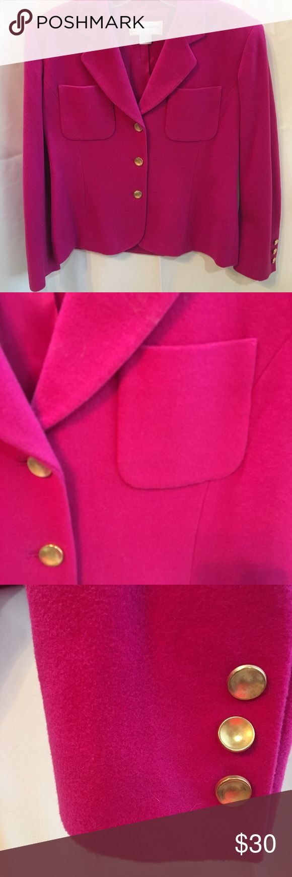 """Liz Claiborne Hot Pink Blazer 6 Like New pre owned 80% wool 20% nylon Fully lined Dual front flat chest pockets  40"""" chest  22"""" length  34"""" waist   21' outer shoulder to sleeve ends   16"""" shoulder width Liz Claiborne Jackets & Coats Blazers"""