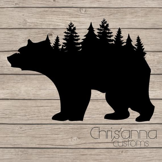 Window Decals For Cars >> Bear Tree Line Silhouette Decal Sticker | Bear stencil ...
