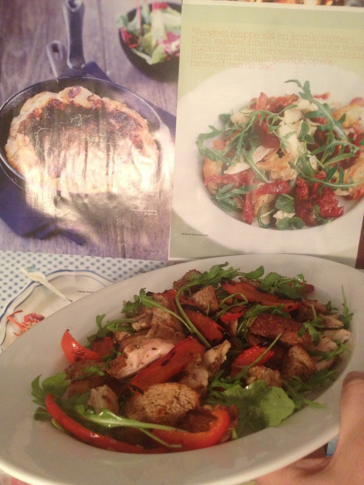 Sweet pepper salad, with croutons, roasted chicken and rocket salad.