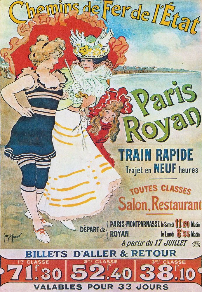 Affiche chemin de fer de l'état - Paris Royan - illustration de Georges Meunier - France -