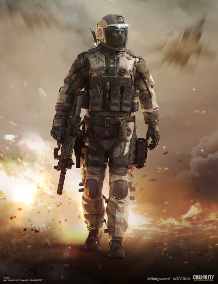 A collection of designs and key art used during the development of the SCAR pilot for Call of Duty: Infinite Warfare