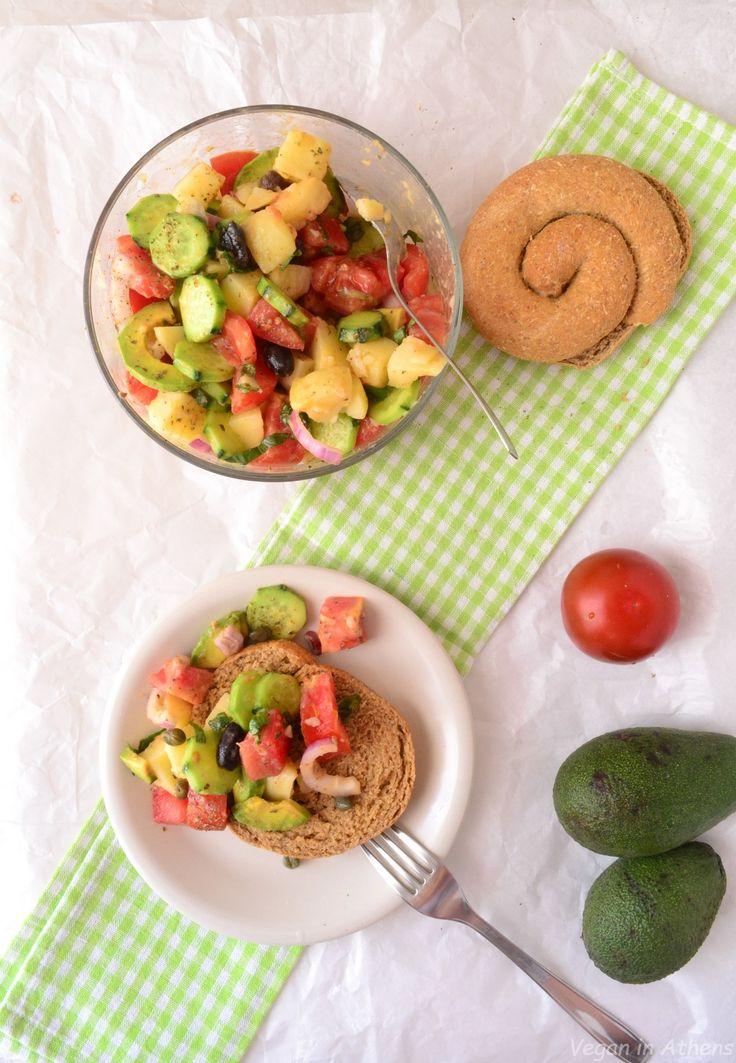 Vegan Greek Salad with avocado and potatoes. #vegan #glutenfree #Greekrecipes