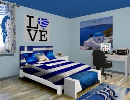 Greek Flag Bedroom at http://www.visionbedding.com/Greek-Flag-Fly_Bedroom-rm-12726  #GreekFlagBedroom, #GreekRoom, #ElegantRoom