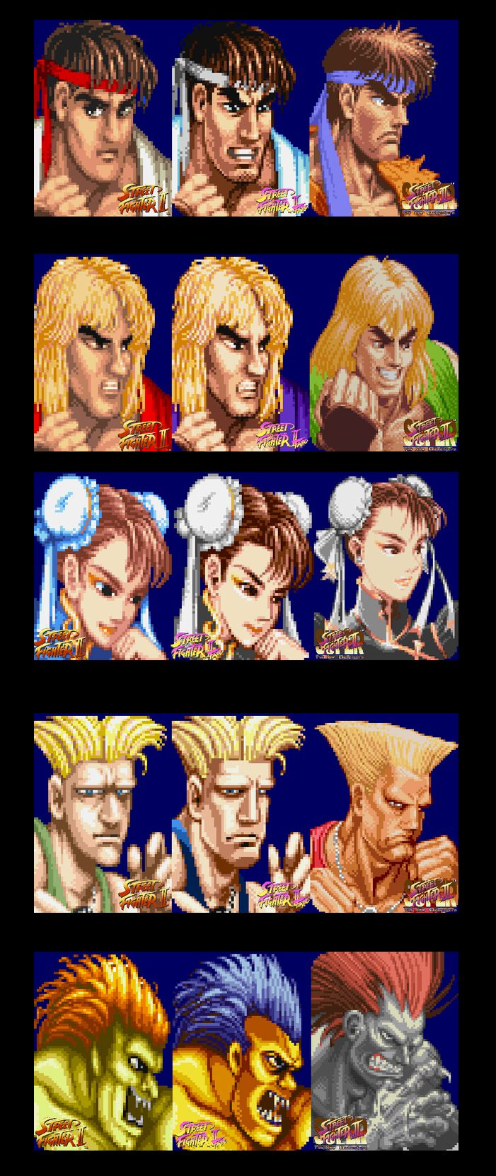 Street Fighter 2 character portrait Evolutions From WW to Turbo to Super
