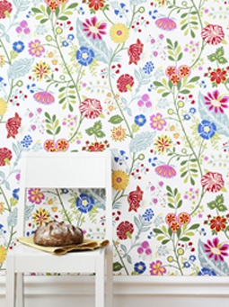 "aaaawwww - this colourful floral wallpaper shouts spring! EDIT: found out that it is ""Amelie"" (541-38) by Sandberg"
