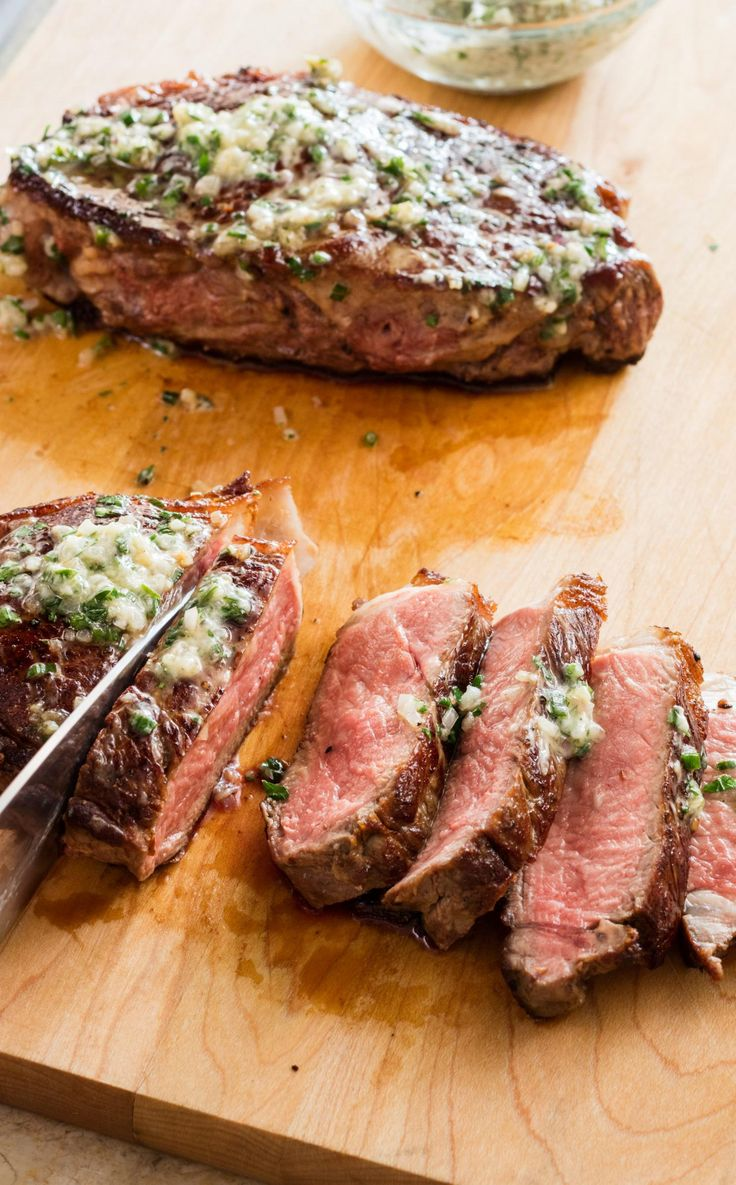 Cast Iron Steaks with Herb Butter.