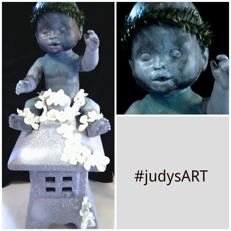 Verdigris Finish Faux Outdoors Stone Baby Sculpture Statue. Recycle DIY Repurposing upcycling Objet trouvé