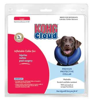 Kong Cloud Inflatable Dog Collar Large, Kong Company - The Kong Cloud Collar Is Soft, A Comfortable Alternative To Elizabethan Collars, Which Are Used For Injuries, Rashes, Or Post Surgery. With The Cloud Collar, Pets Can See Where They Are Walking And Avoid Bumping Into Things. Cloud Collars Are Not Large Or Awkward And Are Easy To Use. Washable, Scratch And Bite Resistant!