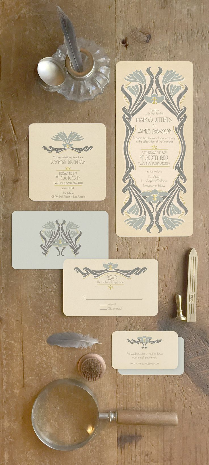 INTAGE WEDDING INVITATIONS What a great way to set the tone of your wedding! A perfect blend of Art Nouveau merging into Art Deco! These invitations can accommodate your custom wording and wedding colors and can be used as Save the Dates or in a full invitation suite with reply cards, info cards, menu's, placards etc.  Designed by GoGoSnap!