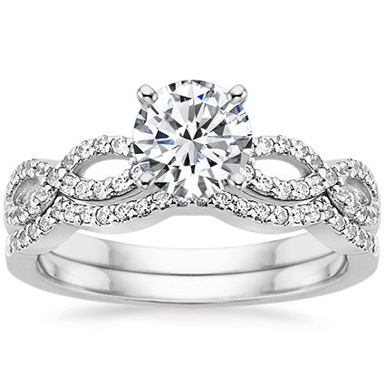 18K White Gold Infinity Diamond Ring Matched Set