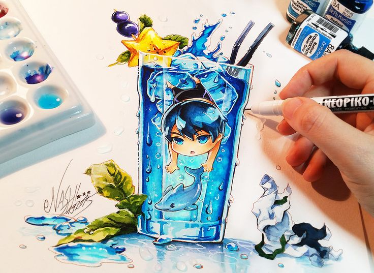 Haru is finished Yoosh !! He jumped out of his clothes like always to follow the dolphin ^_________^ I hope you like the last one of the cocktail boys XD -> Haruka Nanase Tools: Faber Castell Po...