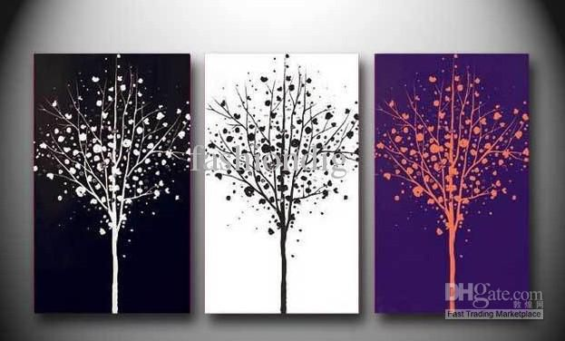 Abstract Tree Black White Purple oil painting canvas Scenery Home Office wall art decor Handmade