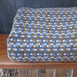 vintage blue and moss wool blanket