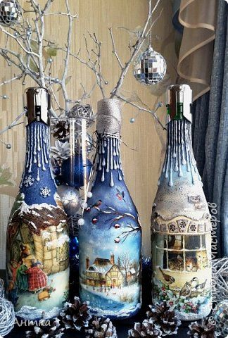 Decor items New Year Decoupage Modeling for New Year's table Napkins Plastic Bottles, glass photo 1
