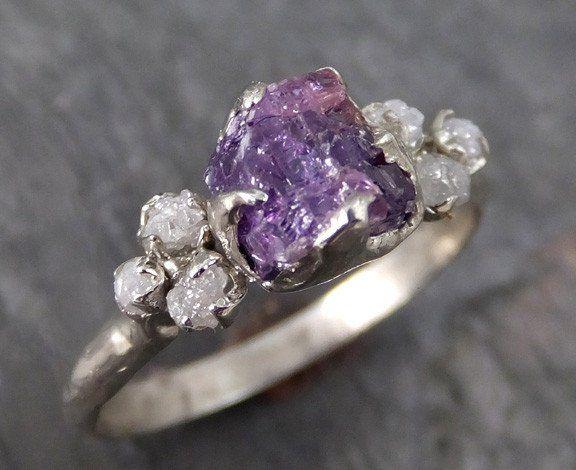 Raw Sapphire Diamond 14k White Gold Engagement Ring